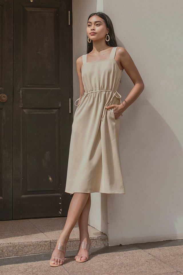 HANA SQUARE NECK DRAWSTRING DRESS #MADEBYLOVET (SAND)