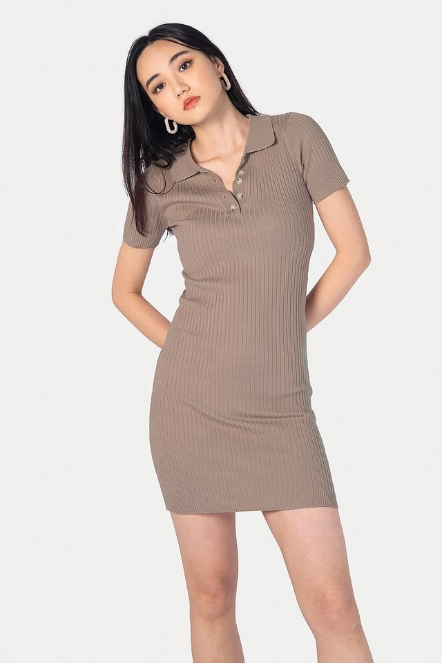 BRIELLE BUTTON RIBBED DRESS #MADEBYLOVET (TAUPE BROWN)