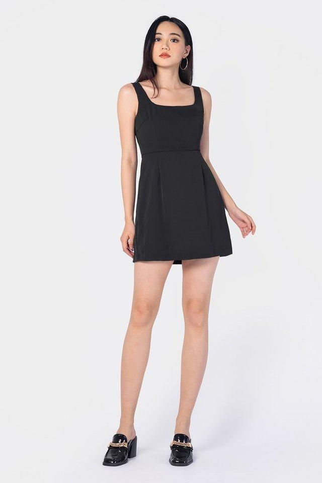 JULIE SQUARE NECK SKORTS DRESS #MADEBYLOVET (BLACK)