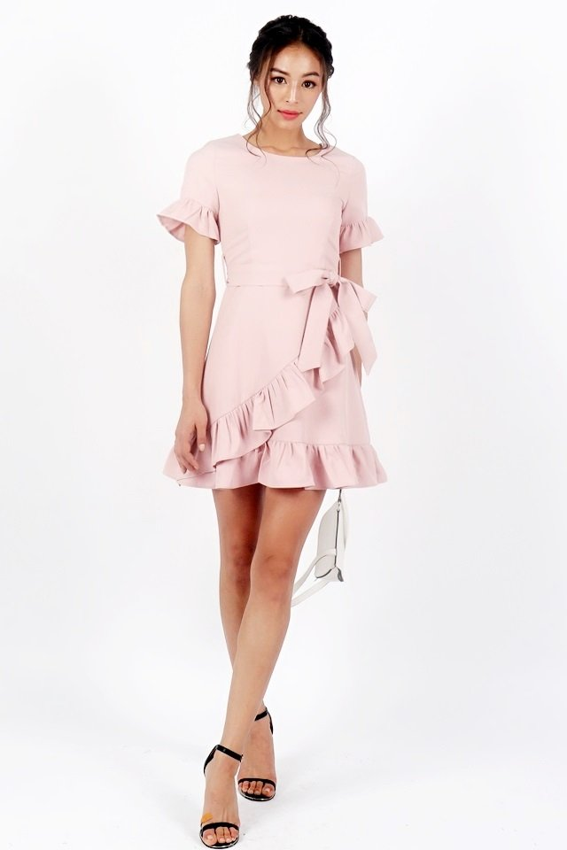 BRIELLE PASTEL RUFFLE DRESS WITH SASH #MADEBYLOVET (DUSTY PINK)