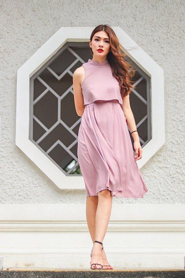 ESTELLE MANDARIN COLLAR LAYERED DRESS (DUSTY PINK)